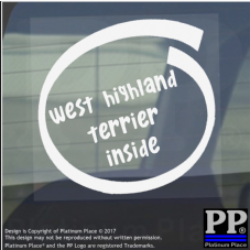 1 x West Highland Terrier Inside-Window,Car,Van,Sticker,Sign,Adhesive,Dog,Pet